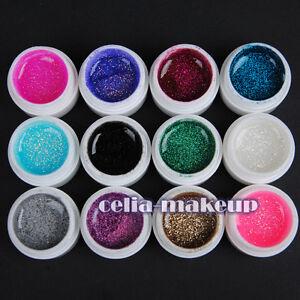12-Color-NAIL-ART-GLITTERY-GLITTER-UV-GEL-Builder-Polish-Set-Tips-deco-426