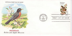 1982-STATE-BIRDS-AND-FLOWERS-SERIES-MICHIGAN-CHUCK-RUPPER-CACHET-UNADDRESSED-FDC