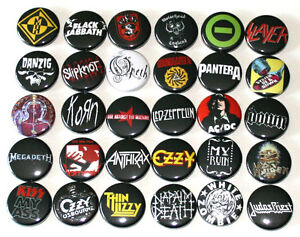 HEAVY-METAL-ROCK-MUSIC-BADGES-x-30-Buttons-Pins-Bulk-Lot-Wholesale-25mm-One-Inch
