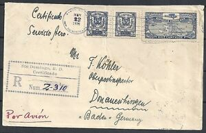 Dominicana covers 1929 R-Airmailcover to Donauschingen