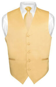 Men-039-s-GOLD-Color-Tie-Dress-Vest-and-NeckTie-Set-for-Suit-or-Tuxedo