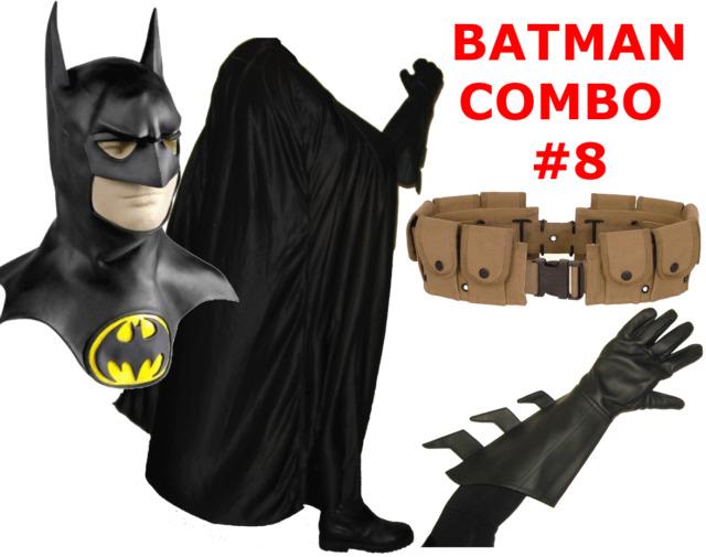 BATMAN Keaton 1992 1989 Returns costume cowl, cape, gloves, brown utility belt
