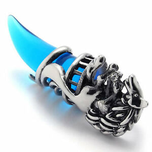 Mens-Vintage-Silver-Blue-Crystal-Wolf-Stainless-Steel-Pendant-Necklace-US120635