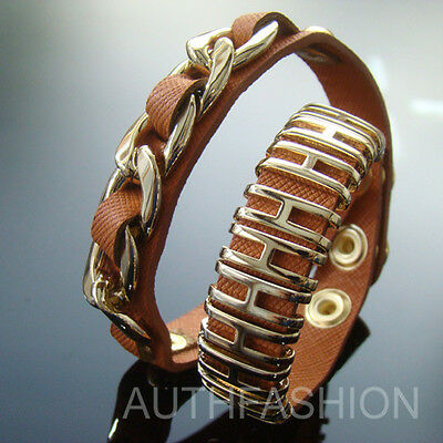 Womens 14k Gold Plated H-Clips Chain Bracelet Cuff Bangle PU Leather Brown W233