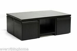 Modern-Dark-Brown-Coffee-Table-And-4-Stool-Set-Ottoman-W-Hidden-Storage-Space