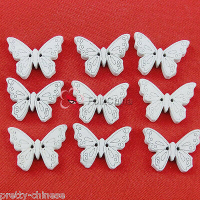 White Butterfly 22mm Wood Buttons Sewing Scrapbooking CardMaking Craft NCB035