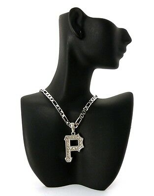 """NEW ICED OUT PITTSBURGH """"P"""" PENDANT &24"""" FIGARO CHAIN HIP HOP NECKLACE - MSP282"""