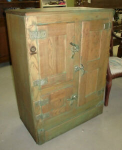 Antique 3 Door Ice Box Chest Old Finish Ebay