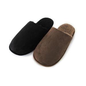 Para hombre con forro de borreguillo Mula Zapatillas ~ marrones o negros