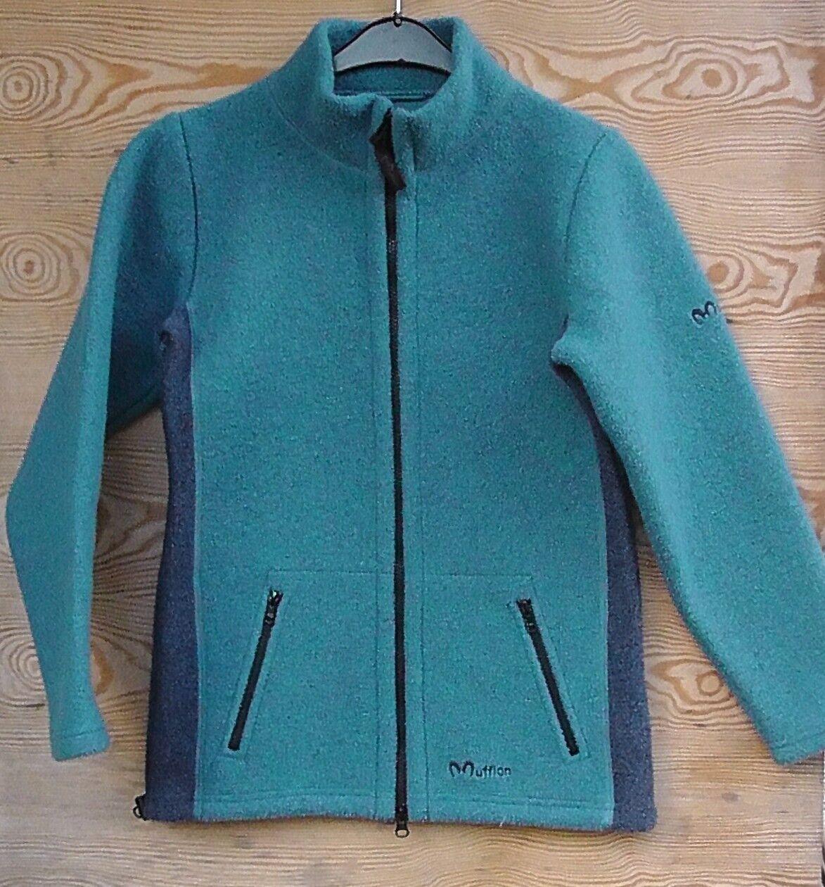 Muflón invierno-chaqueta lana milla para damas, talla xs, petrol