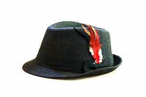 New-Men-Women-Feather-Felt-Trilby-Fedora-Hat-Cap-Black-color