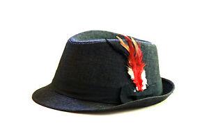 New-Men-Women-Feather-Felt-Trilby-Fedora-Hat-Cap-Black-color