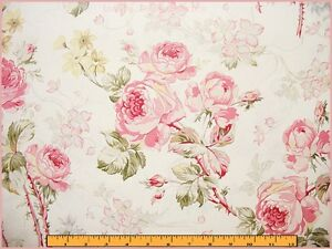 RARE-1996-VICTORIAN-FLORAL-PINK-ROSES-COTTON-FABRIC-SOLD-BY-THE-YARD-36-034-X-52-034
