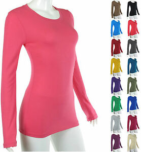 Basic-SOLID-Long-Sleeve-Crew-Round-Neck-STRETCH-T-shirt-Top-Plain-Cotton-Blend