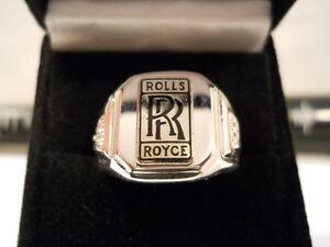 Vintage-Classic-Style-Black-Script-Chrome-ROLLS-ROYCE-Nickel-Silver-Ring-RR