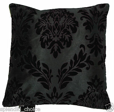 "NEW FLOCK DAMASK FAUX SILK CUSHION COVERS - 9 COLOURS -18""x18"""