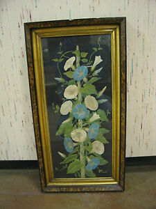 Antique-Late-19th-Early-20th-Century-Picture-of-Flowers-in-Nice-Frame