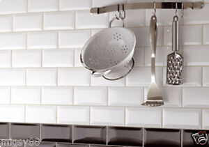 Subway Tiles wall tiles -- gloss white bevel subway tile 150x75mm selling per