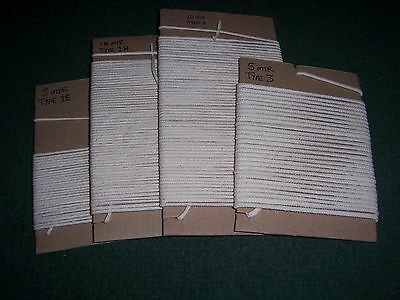 Mixed Pack of Cotton Braided Candle Wick - 4 Sizes - 30 mtr in total