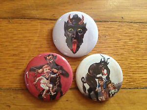 "KRAMPUS set of 3 1.5"" pins buttons christmas evil dark mythical saint nicholas"