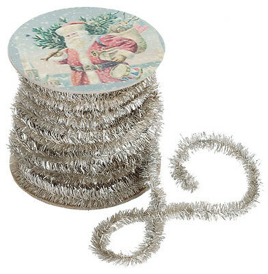 Tinsel Roll Antique Silver Wired Garland Vintage Christmas French Cottage