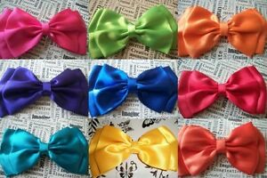 BIG-BRIGHT-SATIN-DOUBLE-BOW-HAIR-CLIP-CUTE-80s-RETRO-50s-VINTAGE-STYLE-HANDMADE