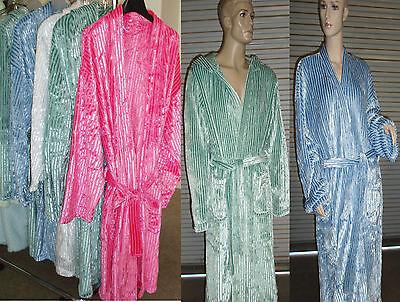 Brand New Women Microfiber Coral Fleece Shine Stripe Bath Robe