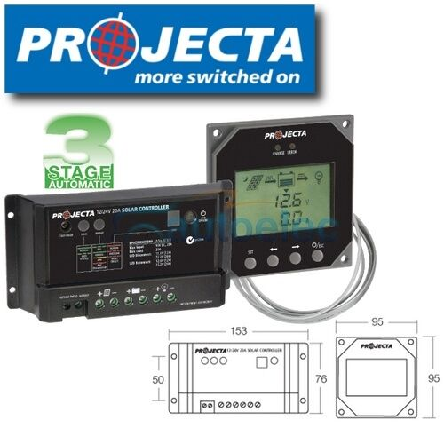 PROJECTA SC320D REMOTE 20 AMP SOLAR PANEL REGULATOR CONTROLLER 12 VOLT CHARGER