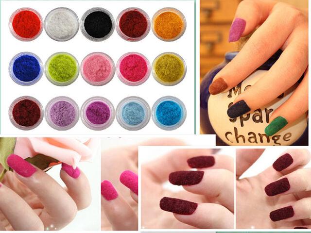 12Colors Fashion Velvet Flocking Powder For Velvet Manicure Nail Art Polish Tips