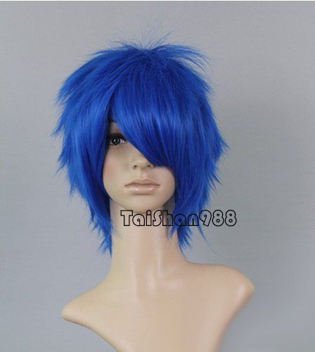 Hot Sell Fashion Short Blue Straight Women Party Cosplay Anime Hair Wig Wigs+Cap