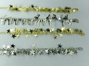 Silver-And-Gold-Tone-Charms-Bracelet-Anklet-Chain-With-Stars