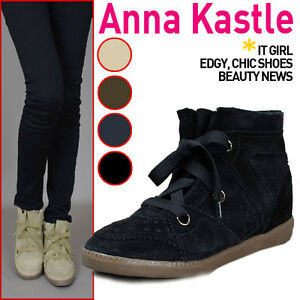 Annakastle-New-Womens-High-Top-Suede-Lace-Up-Hidden-Wedge-Sneakers-US-5-6-7-8