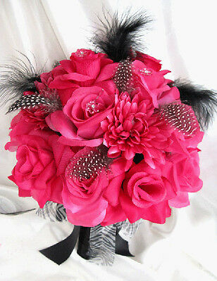 Wedding Bouquet Bridal Silk flowers HOT PINK FUCHSIA BLACK 18pc package bouquets