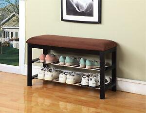 Chocolate-Micro-Fabric-With-Black-Finish-Wood-Shoe-Rack-Organizer-amp-Bench-New