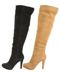 Michael-Kors-Womens-Adena-Slouch-Black-Or-Tan-Knee-High-Suede-Fashion-Boots
