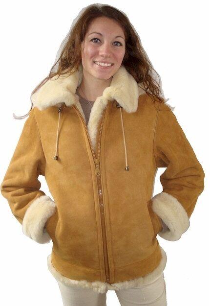 Ladies Bomber Style Shearling Jacket in Tan w/ White Fleece Inside