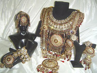 Bollywood Indian Jewelry Jodha Akbar Kundan Bridal Wedding Necklace set 8 Pc