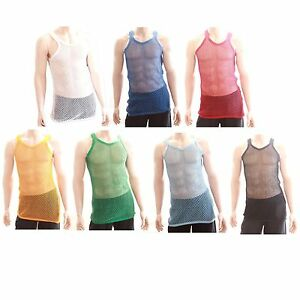 Mens-100-Cotton-Fishnet-Mesh-Hole-String-Muscle-Singlet-Sleeveless-Vest