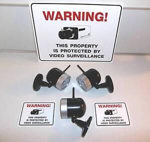 FAKE STORE SECURITY SURVEILLANCE VIDEO CAMERA SYSTEM+WARNING YARD SIGN LOT