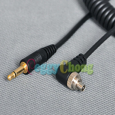 3.5mm to Male FLASH PC Sync Cable Cord with Screw Lock for Trigger /studio Light