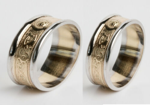 18k Gold Irish Handcrafted Celtic Warrior Ring Wedding Set White and Yellow gold