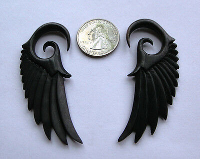 Pair Organic Angelic ANGEL WING Black Areng Wood Spiral Ear Expander Plugs Gauge