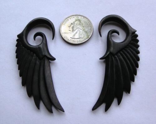 Pair Organic Angelic ANGEL WING Black Areng Wood Spiral Ear Expander Plugs Gauge