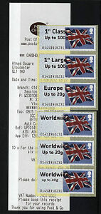 ERRORS-FLAGS-LARGE-FONT-Post-and-Go-GLOUCESTER-COLLECTOR-STRIP-6-RATES