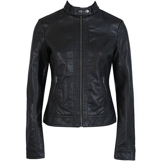 Women's Slim Fit PU Jacket Leather Motorcycle Coats High Quality Black Outerwear