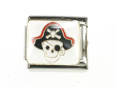 Pirat TOTENKOPF mit Schwarzen Hut Modul in weiß Passend für Nomination NEU