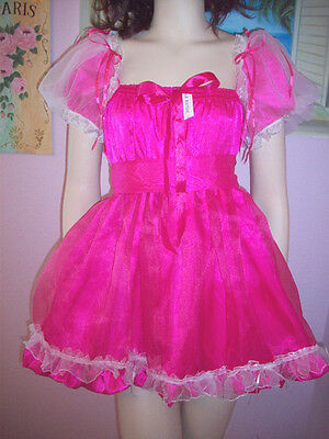 PRETTY FUCHSIA SATIN/ GLASS SILK SISSY DRESS  SIZE XL
