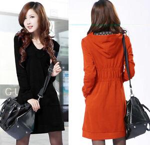 Asian-Size-L-3XL-Women-casual-plain-hooded-long-sleeve-mini-dress-2Colors-QB3081