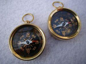 (2) x Brass Pocket Compass ~ Nautical Maritime Navigation ~ Camping Hiking