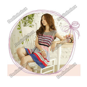 Women-039-s-Summer-Colorful-Stripes-Party-Mini-Dress-With-Belt-Short-Sleeve-Dress
